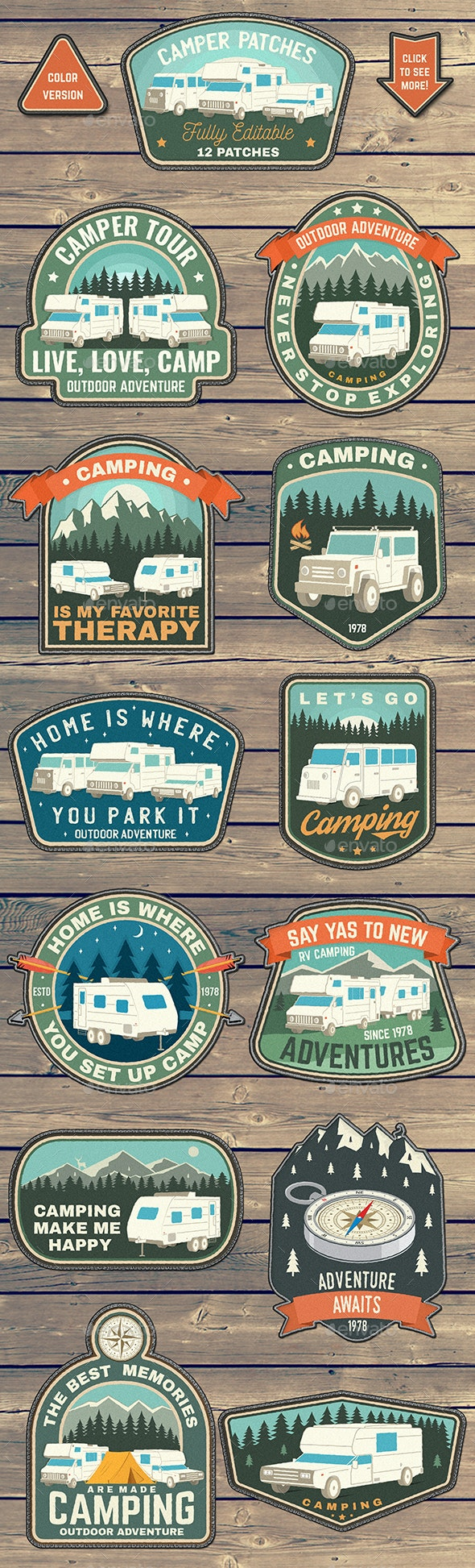 Camper Patches - Badges & Stickers Web Elements