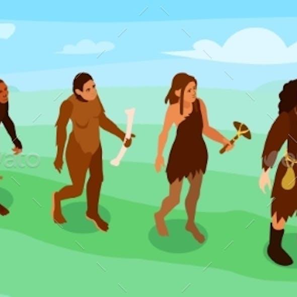 Women Evolution Isometric Banner