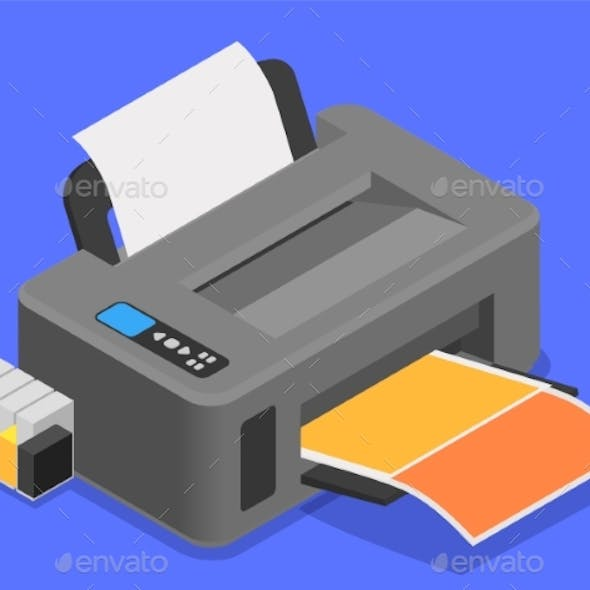 Color Printer Isometric Composition
