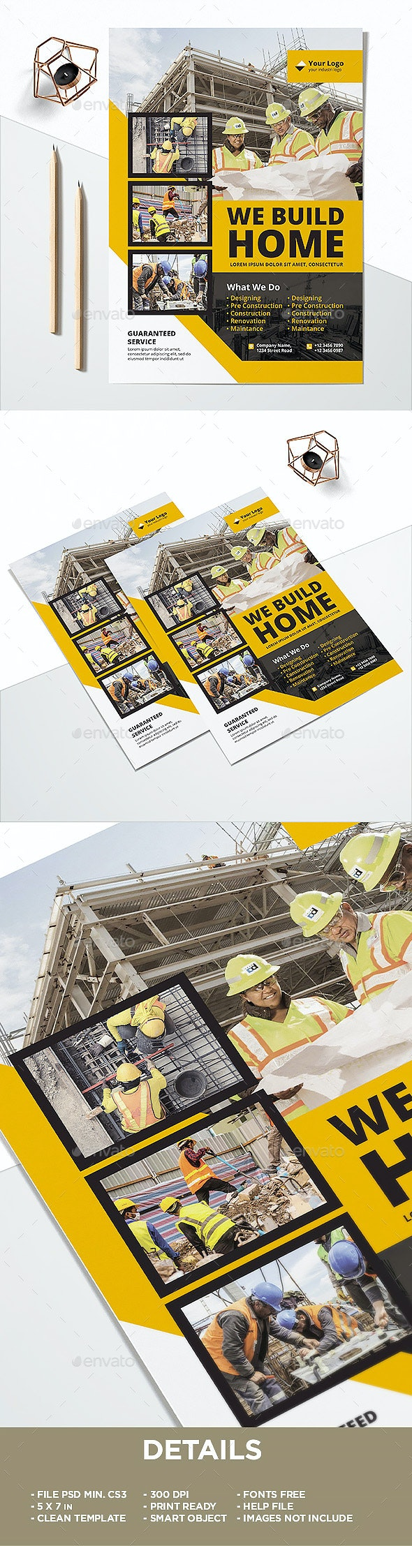 Construction Flyer Template - Corporate Brochures