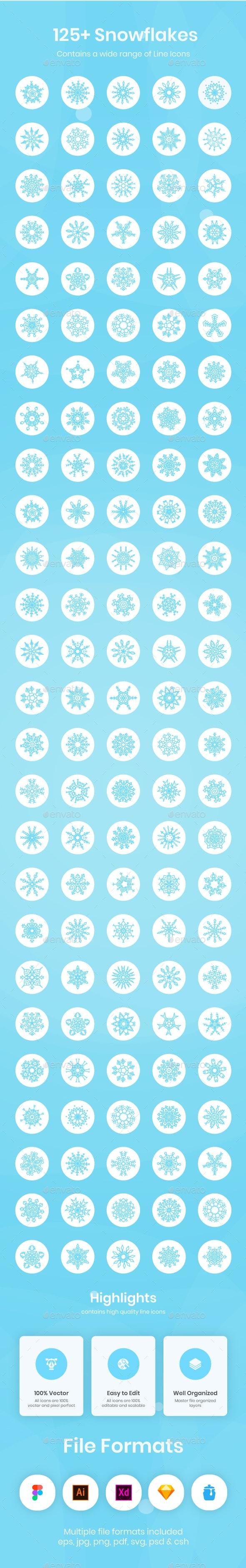 125+ Snowflakes Icons - Seasonal Icons