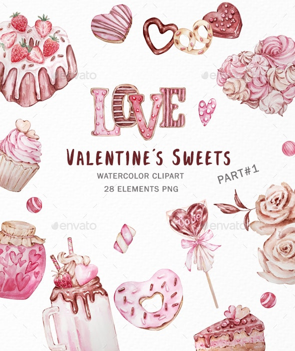 Valentine's Day Watercolor Clipart, Candy Hearts - Illustrations Graphics
