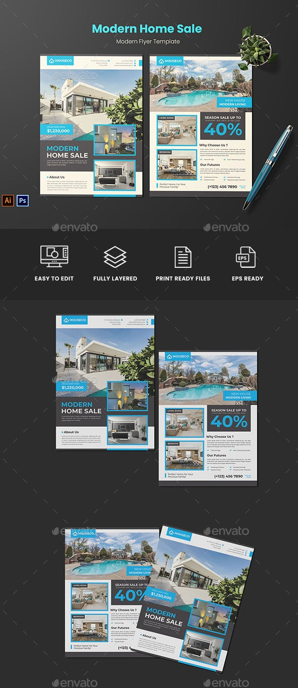 Modern Home Sale Flyer - Flyers Print Templates