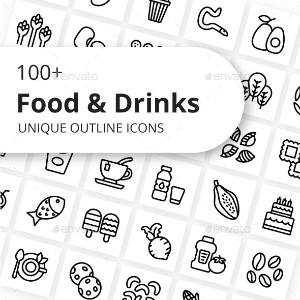 Food and Drinks Unique Outline Icons - Food Objects