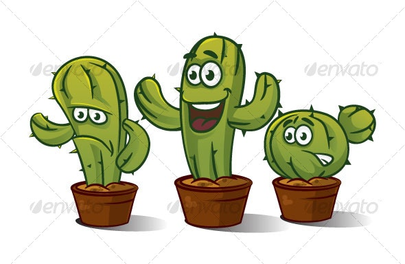 3 x Cactus Characters - Miscellaneous Characters