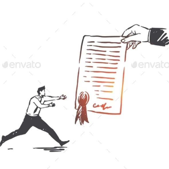 Business Agreement Contract Concept Sketch