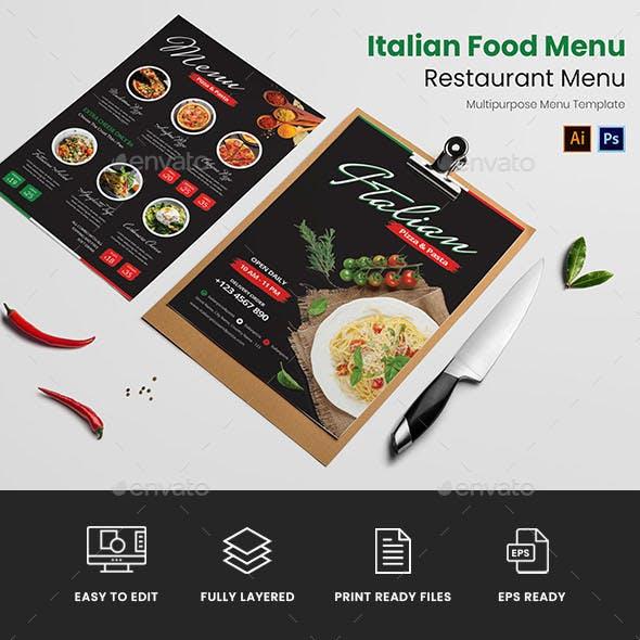 Italian Food Restaurant Menu