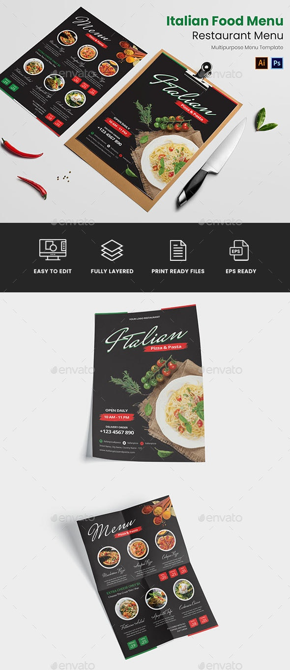 Italian Food Restaurant Menu - Food Menus Print Templates