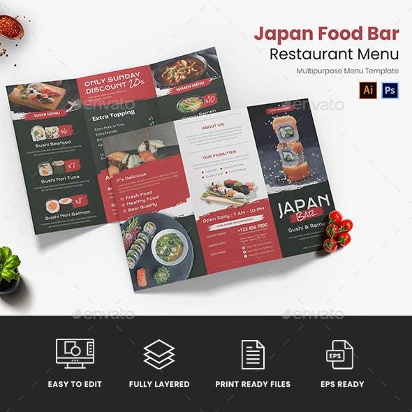 Japan Food Bar Restaurant Menu