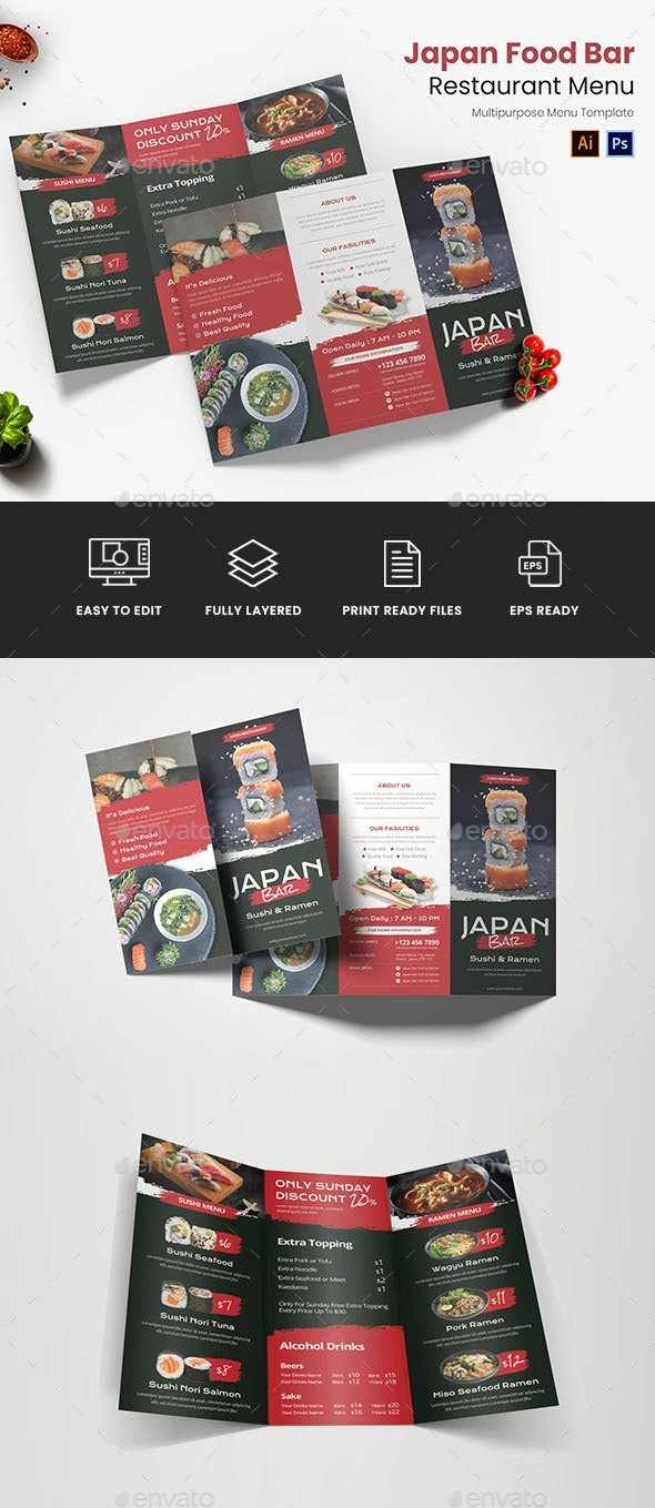 Japan Food Bar Restaurant Menu - Food Menus Print Templates