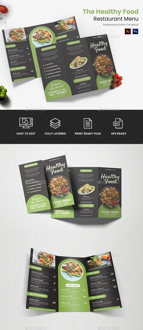 Healthy Food Restaurant Menu - Food Menus Print Templates