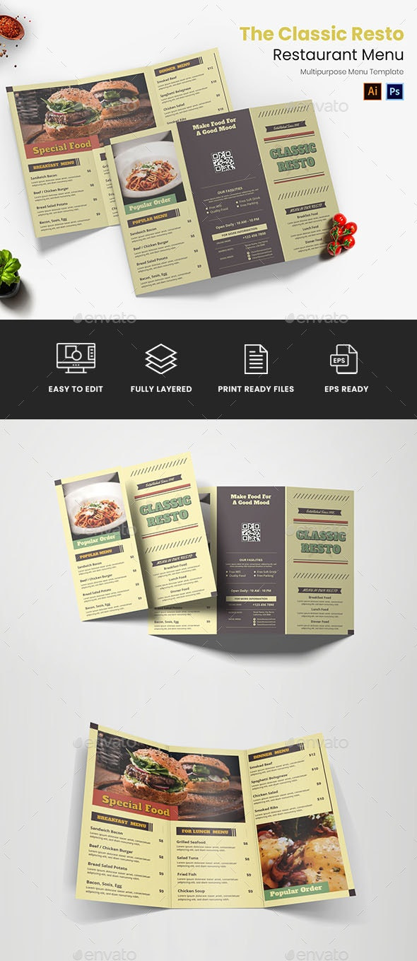 Classic Resto Restaurant Menu - Food Menus Print Templates