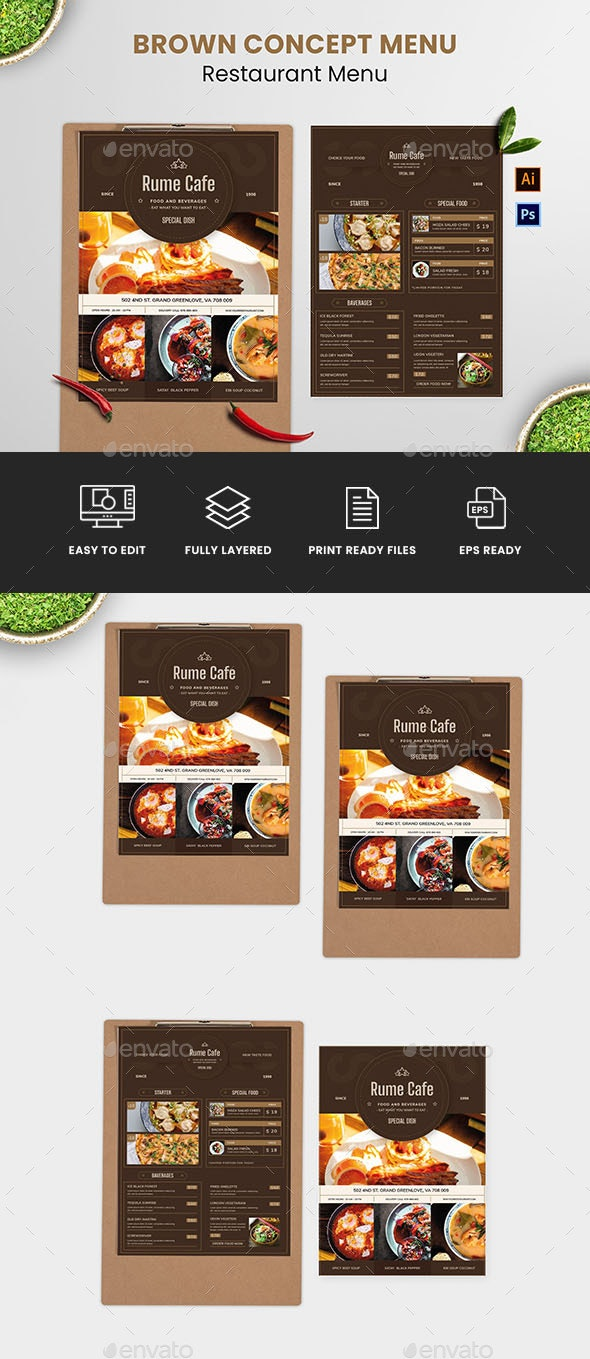 Brown Concept Food Menu - Food Menus Print Templates