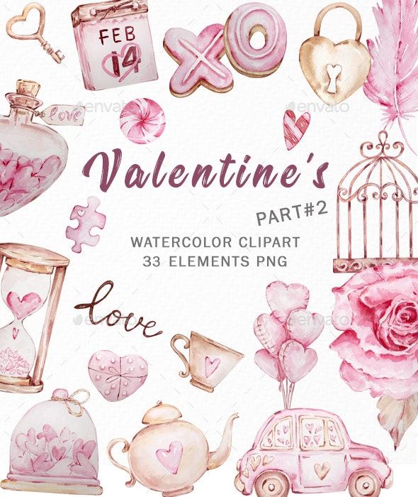 Valentine's Day Watercolor Clipart, Pink Valentines - Illustrations Graphics