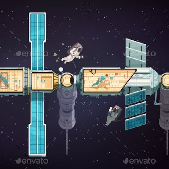 Orbital Space Station Illustration