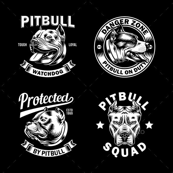 Pit Bull Terrier Dog Emblem Collection Vector Graphic - Animals Characters