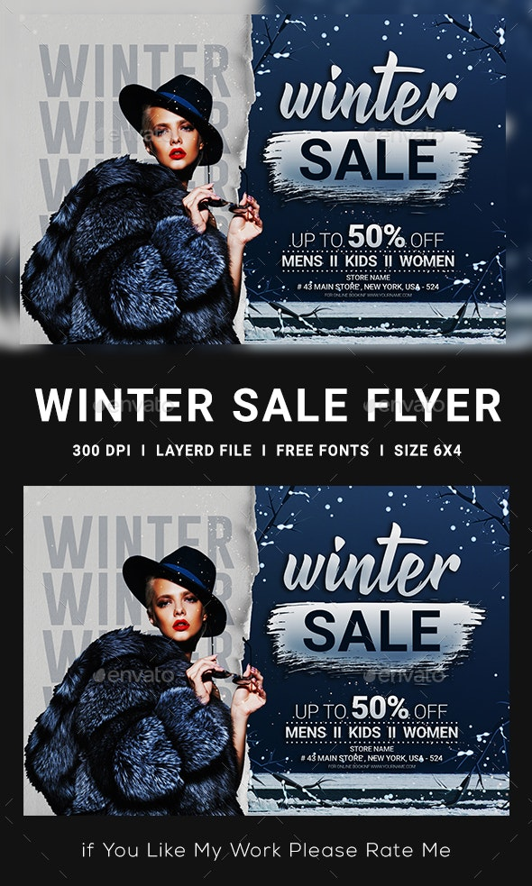 Winter Sale Flyer Template - Clubs & Parties Events