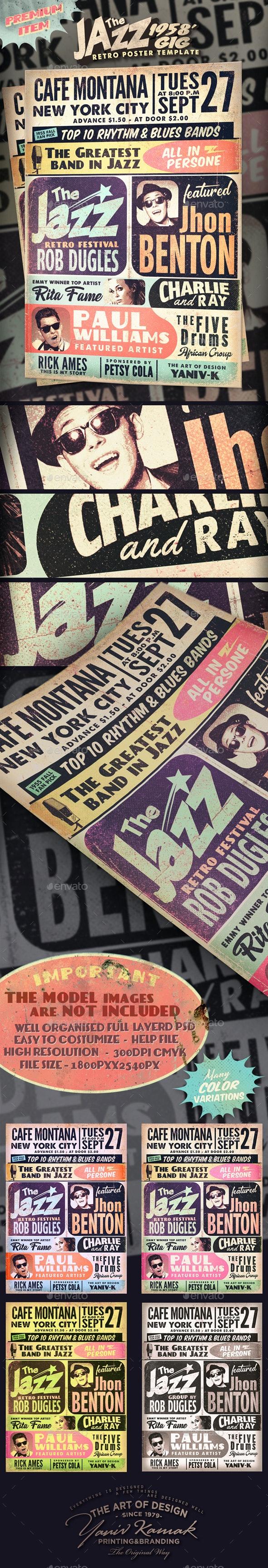 Retro Jazz 1958's Gig Poster - Flyers Print Templates