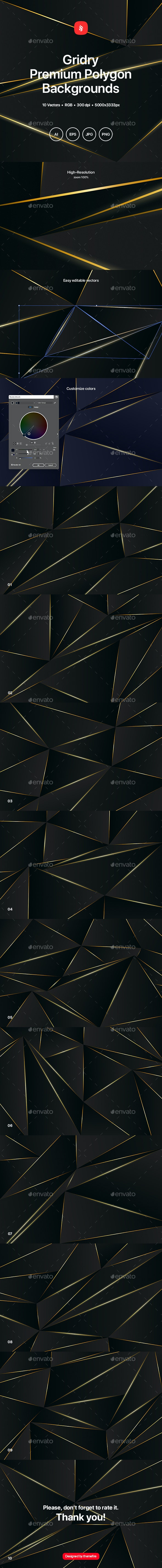 Gridry - Black Premium Polygon Backgrounds - Abstract Backgrounds