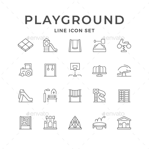 Set Line Icons of Playground - Man-made objects Objects
