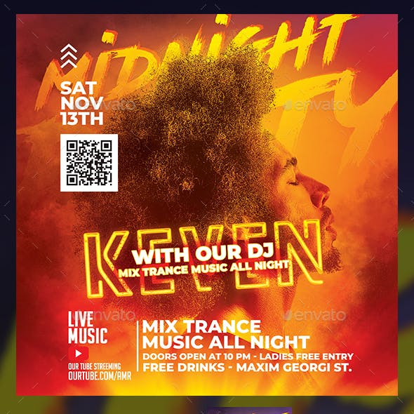 Dj Midnight Party Flyer