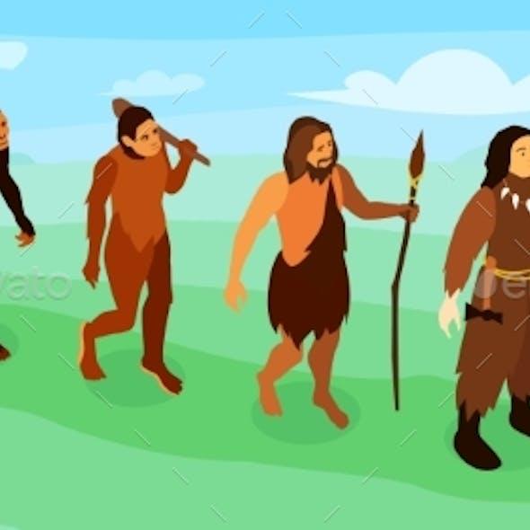 Men Evolution Isometric Illustration