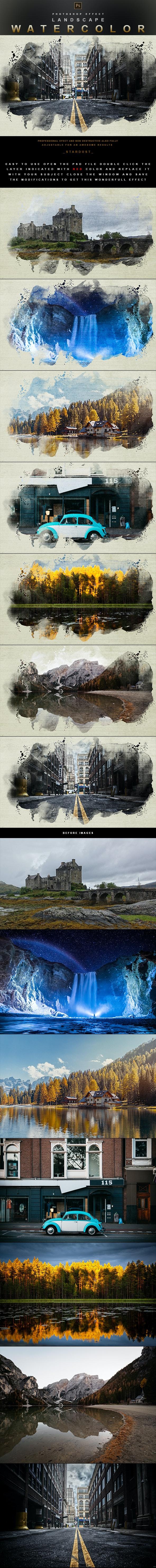 Landscape Watercolor - Photoshop Effect - Photo Effects Actions