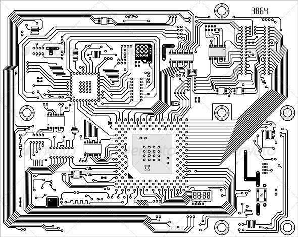 Hi-tech industrial electronic vector background - Computers Technology