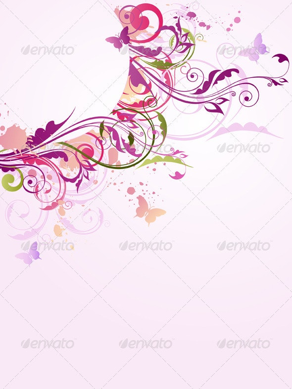 Floral Background with Ornament - Backgrounds Decorative