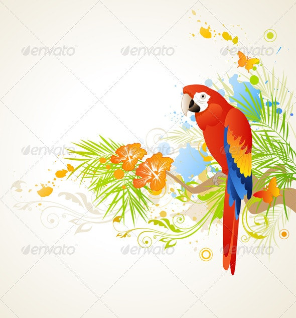 Summer Background with Parrot - Animals Characters