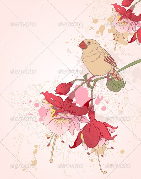 Floral Background with Bird - Flowers & Plants Nature