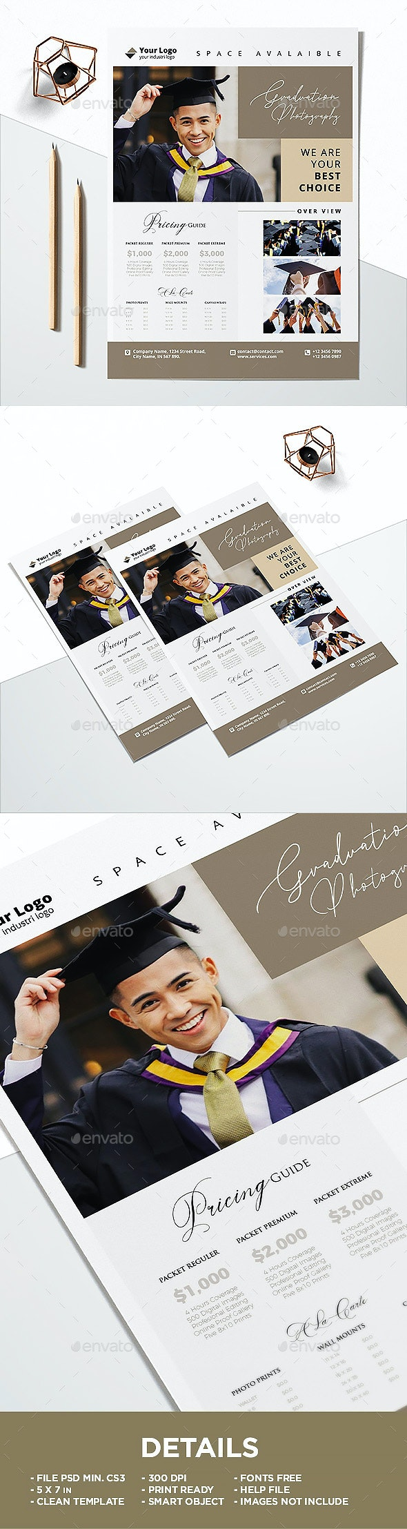 Price Guide Graduate Photography Flyer Template - Corporate Flyers