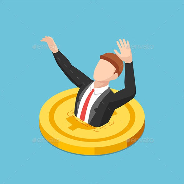 Isometric Businessman Drowning into Golden Dollar Coin