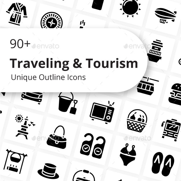 Traveling and Tourism Glyph Icons - Miscellaneous Characters