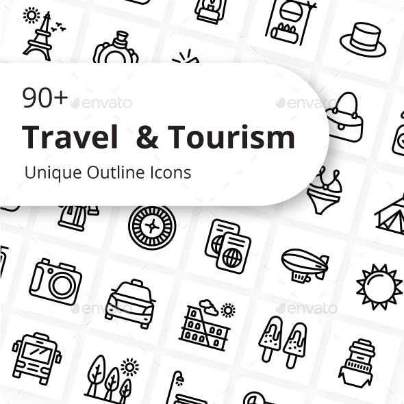 Traveling and Tourism Outline Icons