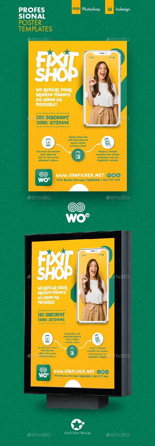 Phone Repair Poster Templates - Signage Print Templates