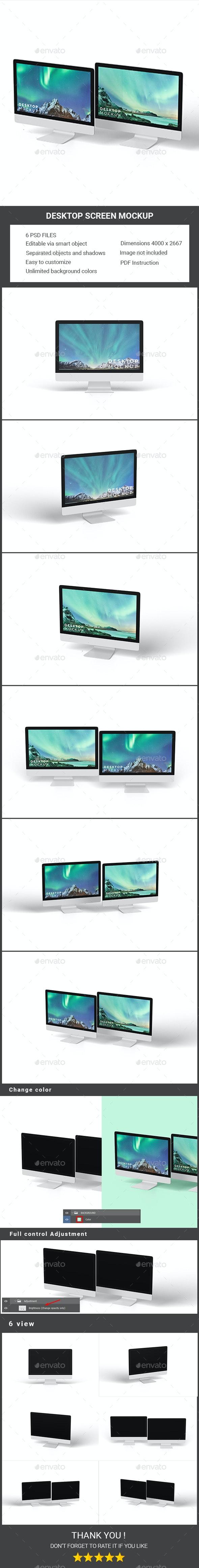 Desktop Screen Mockup - Displays Product Mock-Ups