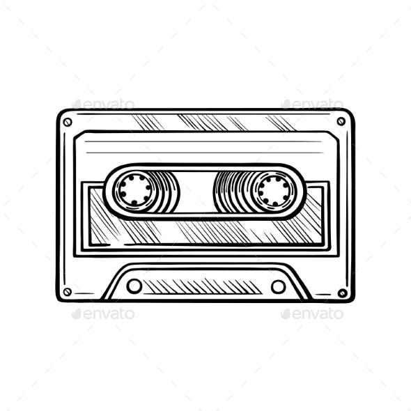 Handdrawn Cassette Tape - Miscellaneous Vectors