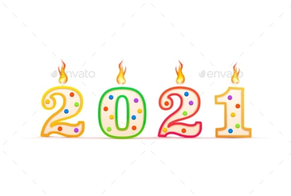 2021 Year Number Shaped Birthday Candle with Fire - New Year Seasons/Holidays