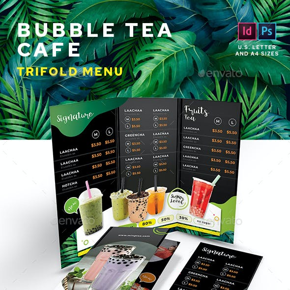 Bubble Tea Trifold Menu