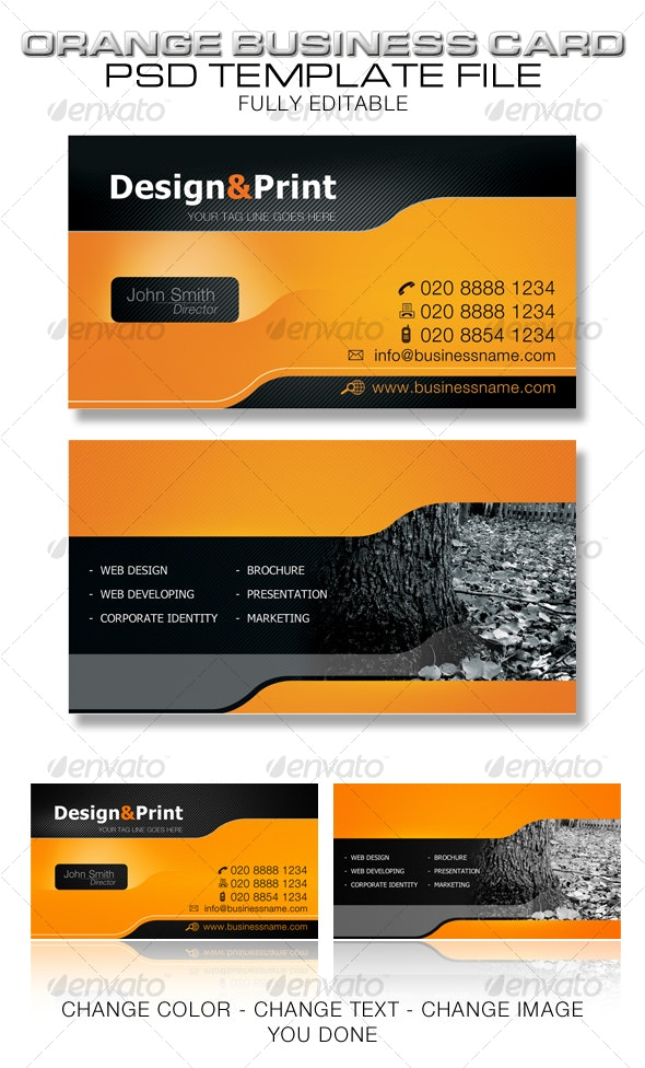 Orange Business Card Template - Creative Business Cards