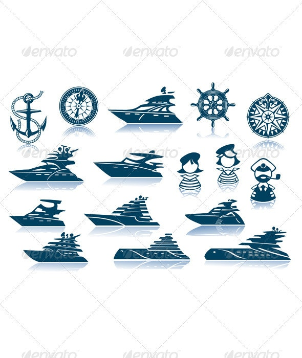 Motor Luxury Yachts Silhouettes Set - Travel Conceptual