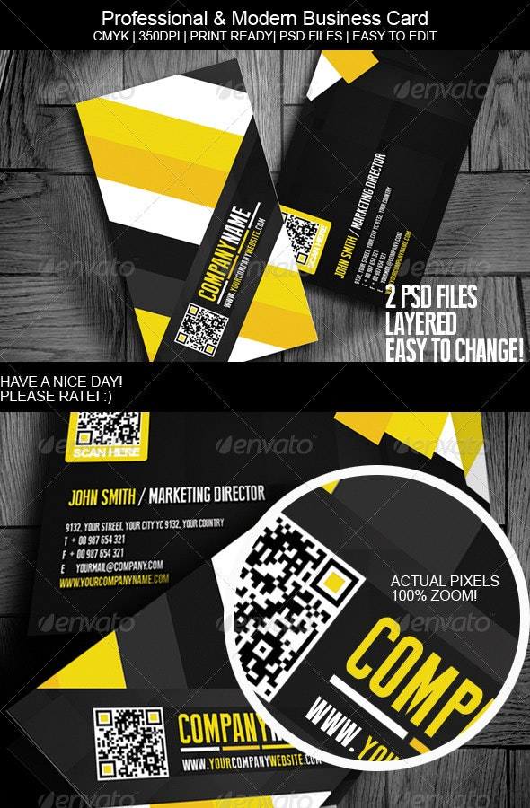 Professional & Modern Business Card - Corporate Business Cards