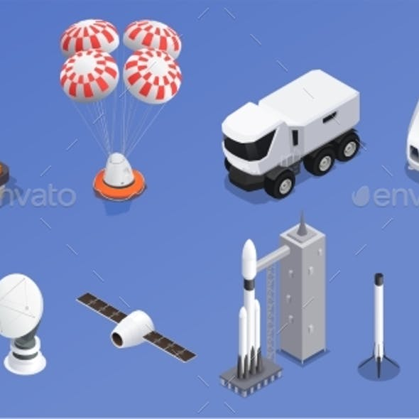 Space Program Isometric Icons