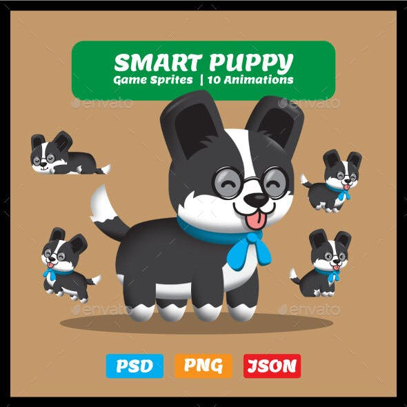Smart Puppy with Glasses - 2D Game Asset Sprites