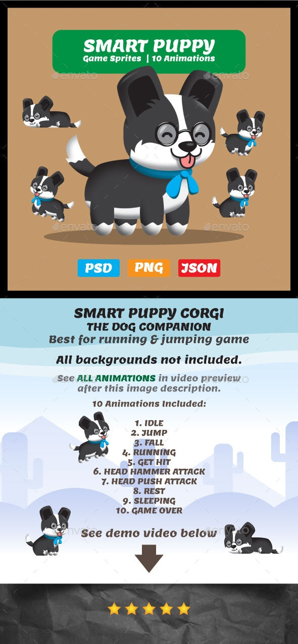 Smart Puppy with Glasses - 2D Game Asset Sprites - Sprites Game Assets