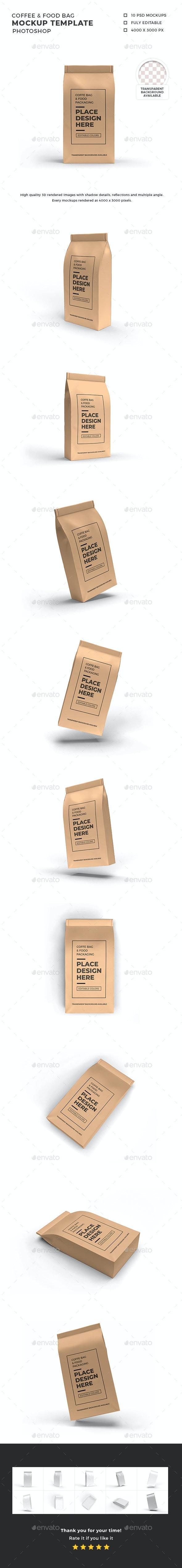 Food Bag Packaging Mockup Template - Food and Drink Packaging
