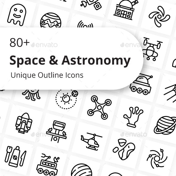 Space And Astronomy Unique Outline Icons