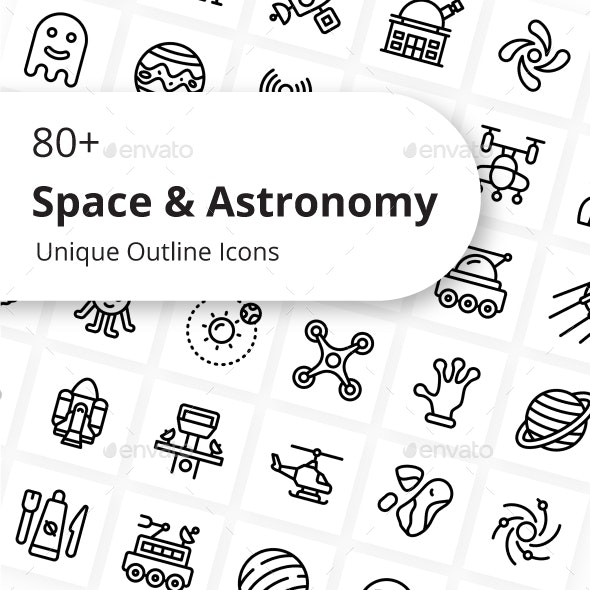 Space And Astronomy Unique Outline Icons - Miscellaneous Icons