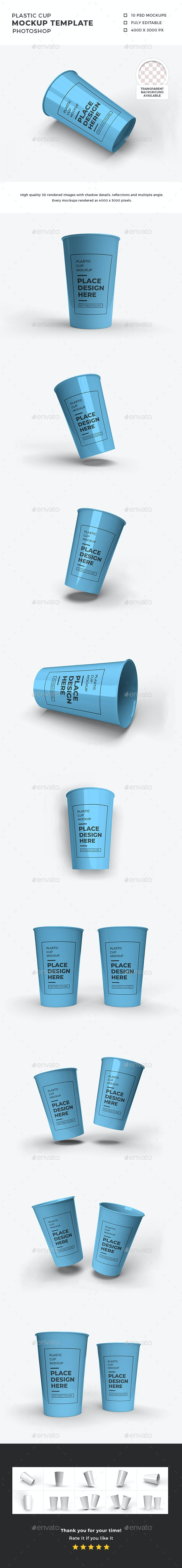 Plastic Cup Mockup Template Set - Packaging Product Mock-Ups